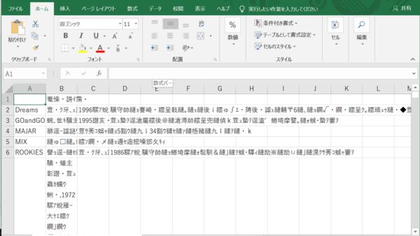 CSVファイル 文字化け