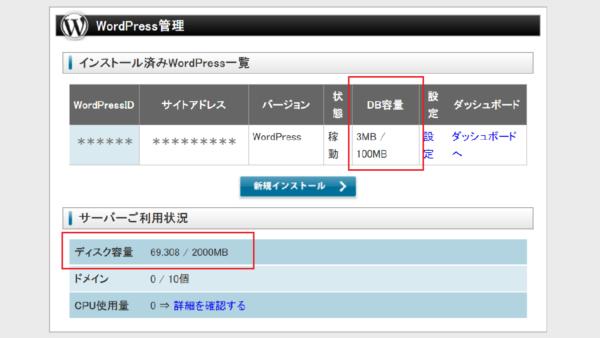 WordPressのデータベース容量