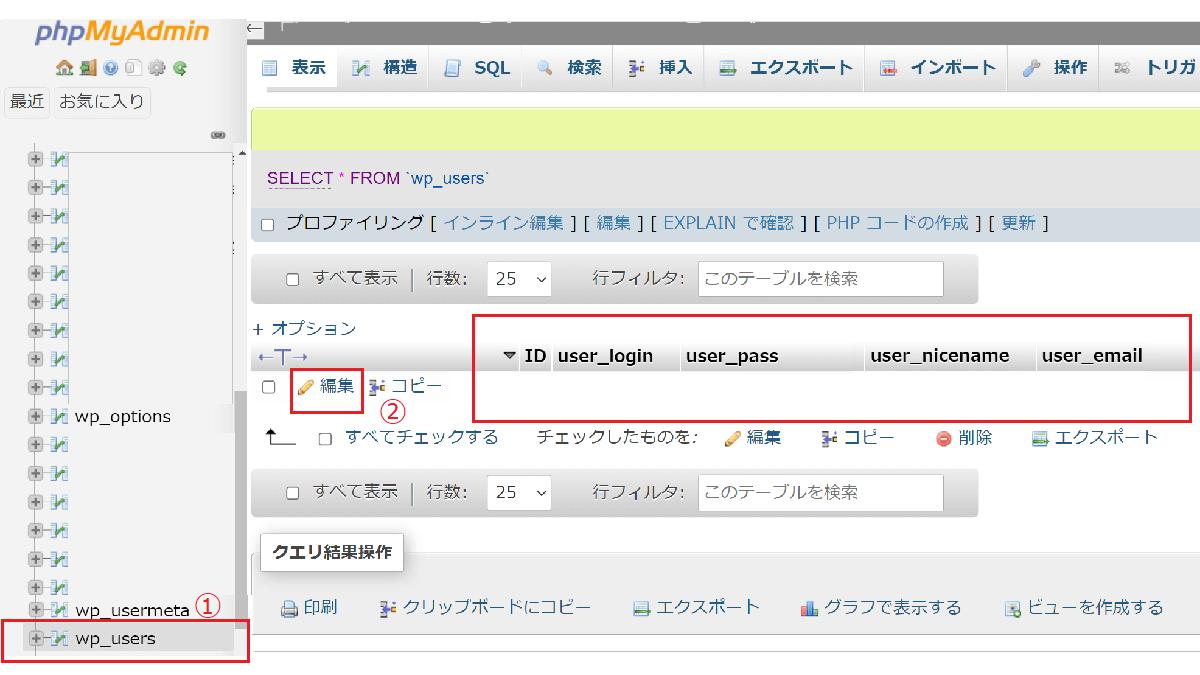 phpMyAdminでパスワードの変更